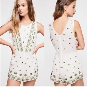 Free People white embroidered romper- NWT